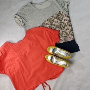 2 ZARA COLLECTION tops orange navy gray detail S